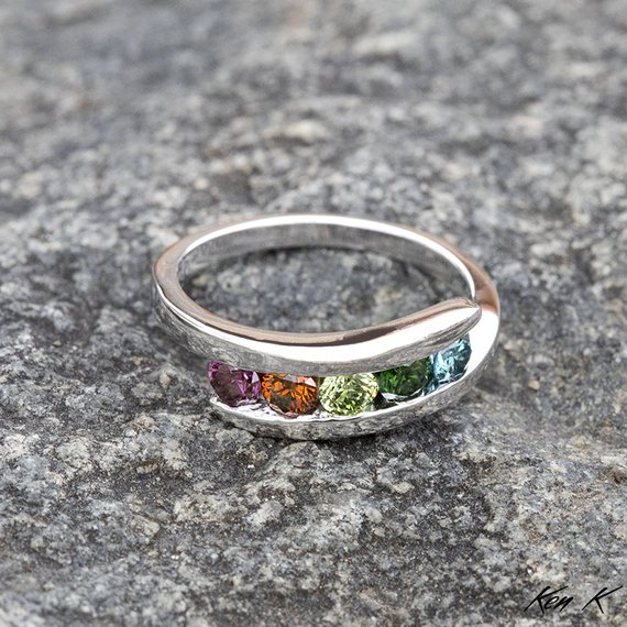 Colored Diamond Mothers Ring