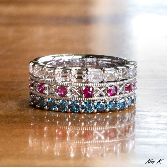 Colored Diamond and Ruby Mother's Ring