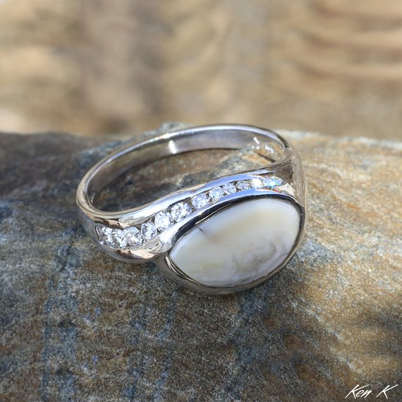 White Gold Elk Ivory Ring with Diamonds