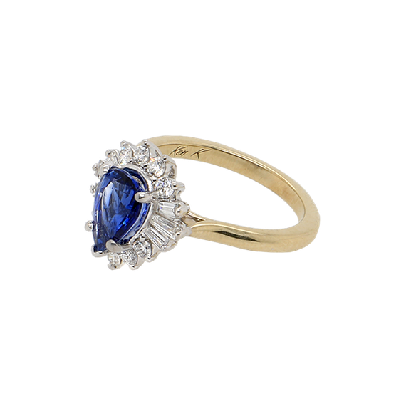Sapphire and Baguette Engagement Ring