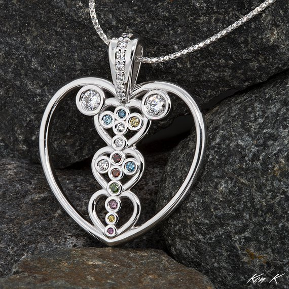 Multi-Generational Mother's Pendant with Colored Diamonds