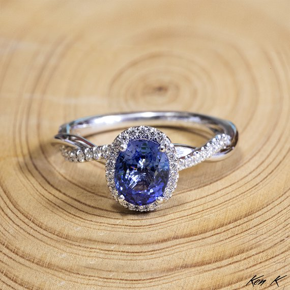 Ceylon Sapphire and Twisted Gold Ring