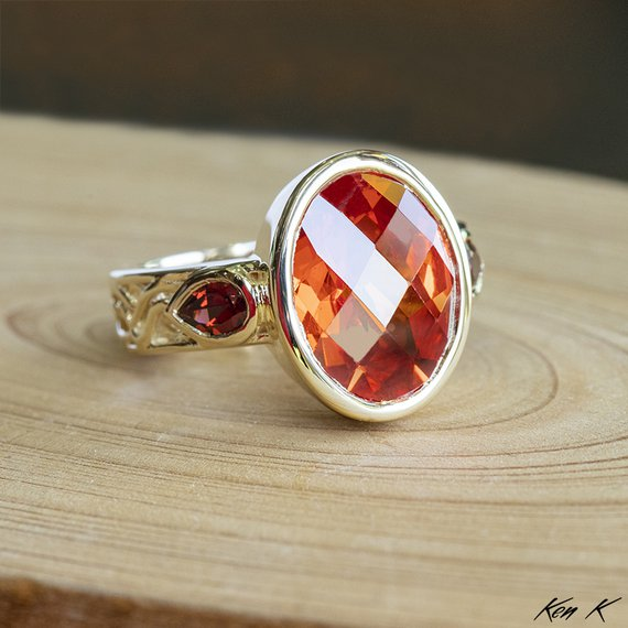 Sapphire and Garnet Ring