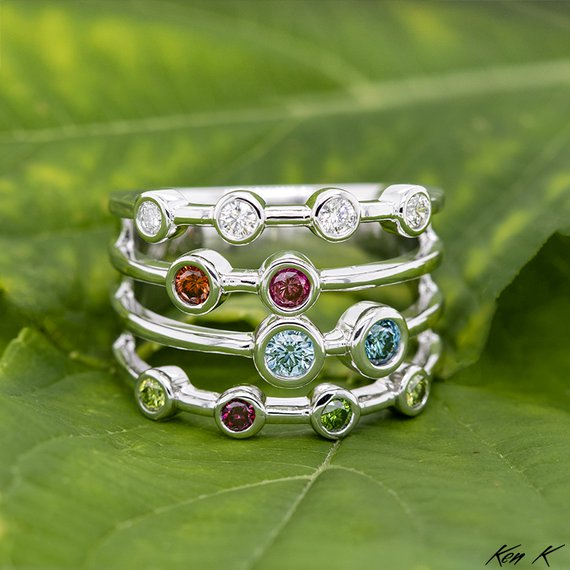 Colored Diamond Mother's Ring